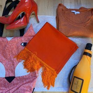 Orange silk scarf / wrap with fringe